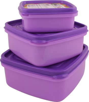 Nayasa Easy Funk 11/12/13  - 250 ml, 650 ml, 1000 ml Plastic Grocery Container(Pack of 3, Purple, Yellow, Orange)  available at flipkart for Rs.140