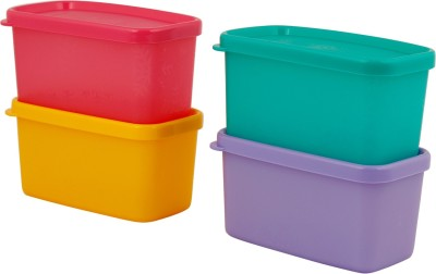 Tupperware Cool Square Half - each 4 pic set (Yellow, Pink, Green, Violet)  - 200 ml Plastic Grocery Container(Pack of 4, Multicolor)  available at flipkart for Rs.350