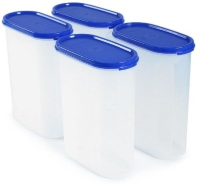 Tupperware MM Oval  Set of 4 .   2300 ml Plastic Grocery Container Pack of 4, White, Blue Tupperware Kitchen Containers