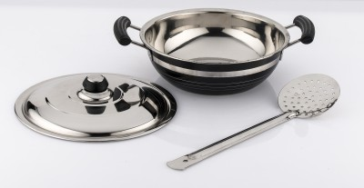 Mahavir Stainless Steel Induction Base Black Color Kadai - 220mm With Frying Jara Induction Bottom Cookware Set(Stainless Steel, 2 - Piece)  available at flipkart for Rs.449