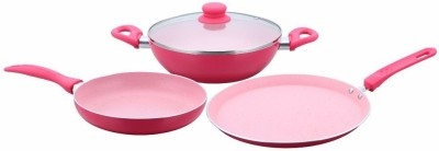 Wonderchef French Blossom Induction Bottom Cookware Set PTFE  Non stick , 4   Piece Wonderchef Cookware Sets