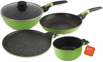 Wonderchef Click Amaze Green Induction Bottom Cookware Set(Aluminium, 4 - Piece)  available at flipkart for Rs.3490