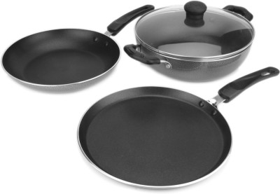 Kreme 3 Pc Induction Bottom Cookware Set(Aluminium, PTFE (Non-stick), 3 - Piece) at flipkart