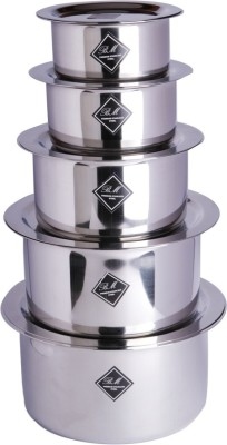 KCL Tope & Lids Induction Bottom Cookware Set(Stainless Steel, 10 - Piece) at flipkart