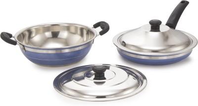 Mahavir 4KFBL Induction Bottom Cookware Set Stainless Steel, 2   Piece