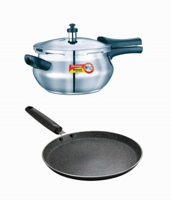 Prestige Deluxe Alpha Stainless Steel Mini Handi With Granite Omni Tawa 250 Mm Induction Bottom Cookware Set Stainless Steel, Aluminium, 2   Piece Pre