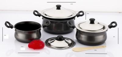 Mahavir Induction Base Non Stick Cook N Serve Set Induction Bottom Cookware Set(Aluminium, 3 - Piece) at flipkart