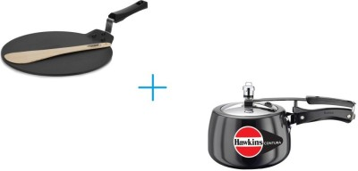 Hawkins Combo - 3 lt Contura black and Futura Nonstick Dosa Tawa 33 cm Cookware Set(PTFE (Non-stick), Aluminium, 2 - Piece)  available at flipkart for Rs.3008