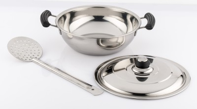 Mahavir Stainless Steel Induction Base Kadai - 240mm With Frying Jara Induction Bottom Cookware Set(Stainless Steel, 2 - Piece)  available at flipkart for Rs.499