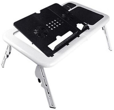 Shrih SH   02107 High Quality Foldable Laptop Table With 2 Usb Fans Cooling Pad White Black