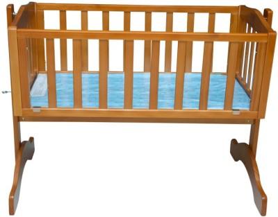 MeeMee Baby Wooden Cradle with Mosquito Net(Brown, Blue) at flipkart