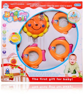 Planet of Toys Bed Happy Baby Bell Rattle(Multicolor)
