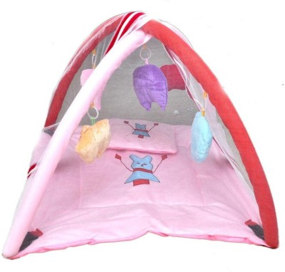Chhote Janab baby velvet play gym with mosquito net(Pink)