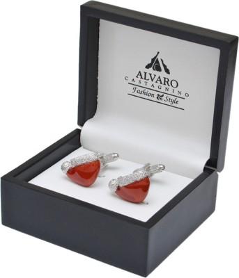 Alvaro Brass Cufflink Set(Red)