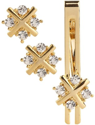 Sanjog Brass Cufflink & Tie Pin Set(Gold)