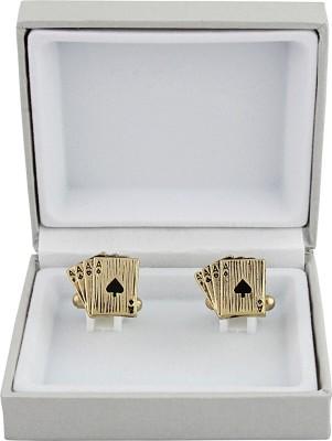 Maruti Tie Metal Cufflink(Gold, Black)