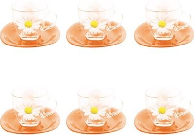 LUMINARC Orange Clear Floral Temp Carina Paquerette Melon Cup And Saucer(Orange, Pack of 6) at flipkart