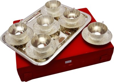 Indian Craft Villa Handmade Royal Silver plated Cup plate set with 6 Cup 6 plate and tray Can be use as kitchenware and Holi,Diwali Anniversary Gift,Other Gift ideas ICV-CP-139(Silver, Pack of 13) at flipkart