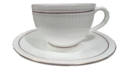 Clay Craft Pack of 6 Bone China cup/mug/saucer/white/Floating Cup Ceramic Mug(White)