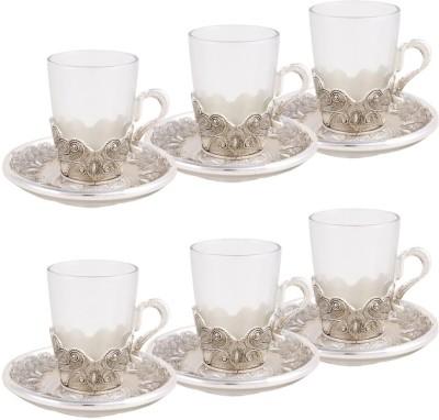 Craftghar Elegant Silver & Glass 6-piece Tea Cup & Saucer Set(Silver, Clear, Pack of 12) at flipkart