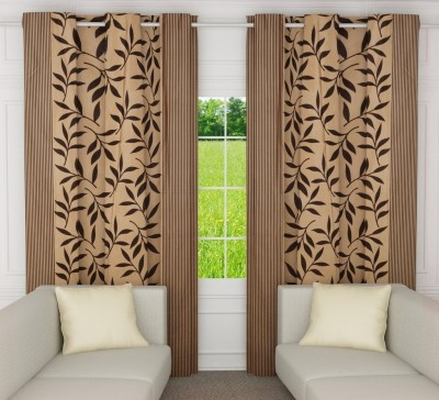India Furnish 213 cm (7 ft) Polyester Door Curtain (Pack Of 2)(Floral, Chocolate Brown)