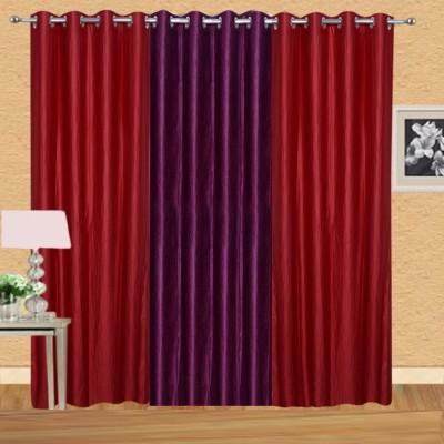Excel Bazaar 275 cm (9 ft) Polyester Long Door Curtain (Pack Of 3)(Solid, Red, Wine)
