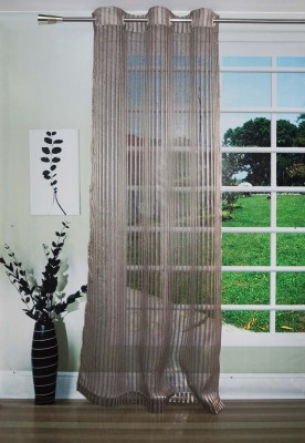 Lushomes Polyester Black Striped Eyelet Long Door Curtain(274 cm in Height, (8.8 ft), Single Curtain) at flipkart