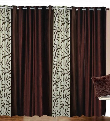 ATOZ Home Decor Polyester Brown Plain Eyelet Long Door Curtain(274 cm in Height, (8.8 ft), Pack of 4) at flipkart