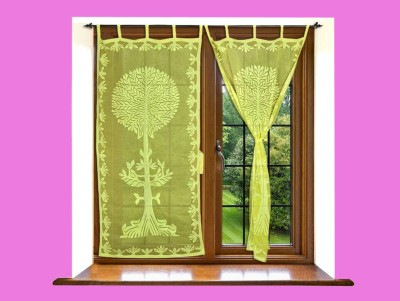 Lal Haveli Cotton Yellow-4 Abstract Tab Top Door Curtain(228 cm in Height, Pack of 2) at flipkart