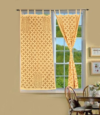 Lal Haveli Cotton Beige-2 Abstract Tab Top Long Door Curtain(228 cm in Height, Pack of 2) at flipkart