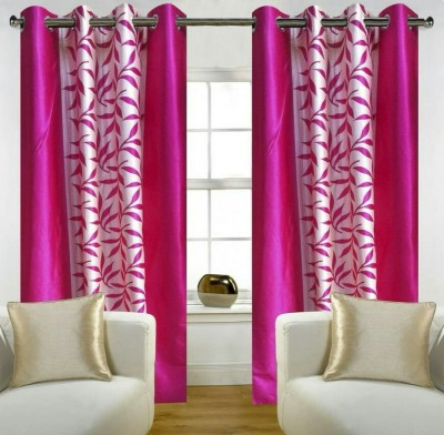 Z Decor Polyester Pink Heart Printed Eyelet Door Curtain(7 inch in Height, Pack of 2)