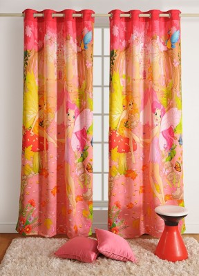 Swayam Cotton Pink, Yellow Printed Ring Rod Door Curtain(90 cm in Height, (2.9 ft), Single Curtain) at flipkart
