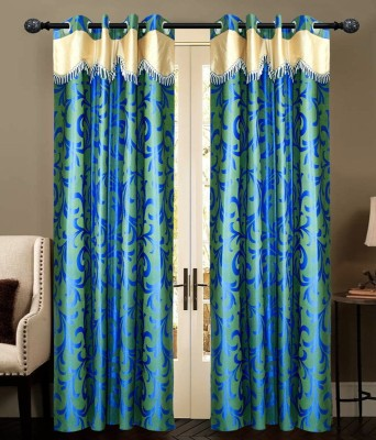 New Ladies Zone 210 cm  7 ft  Polyester Door Curtain  Pack Of 2  Floral, Blue