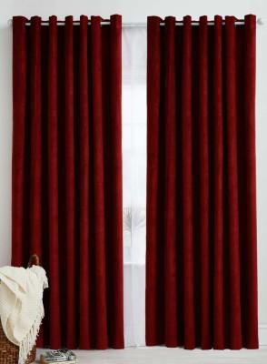 Panipat Textile Hub 152.4 cm (5 ft) Polyester Window Curtain (Pack Of 2)(Plain, Maroon) at flipkart
