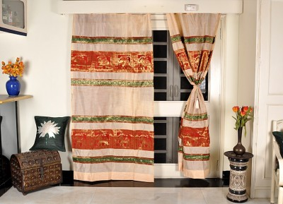 Lal Haveli Silk Ethnic Handmade Animal Pattern Designer Animal Tab Top Long Door Curtain(215 cm in Height, Pack of 2) at flipkart