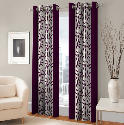 Optimistic Home Furnishing Polyester Purple Floral Eyelet Door Curtain(210 cm in Height, (6.8 ft), Pack of 2) at flipkart