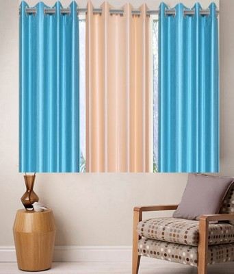 Zesture Polyester Blue, Beige Solid Eyelet Window Curtain(147 cm in Height, (4.8 ft), Pack of 3) at flipkart