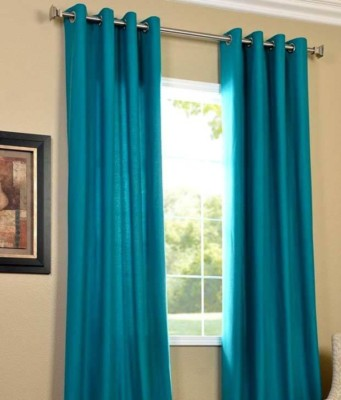 Panipat Textile Hub 152.4 cm (5 ft) Polyester Window Curtain (Pack Of 2)(Plain, Aqua) at flipkart
