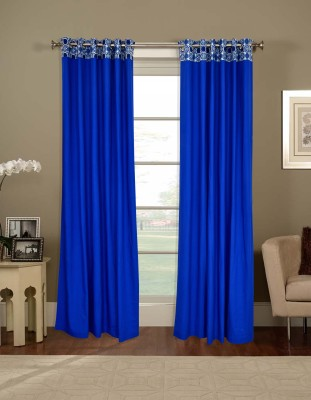 Salona Bichona 228 cm (7 ft) Cotton Door Curtain Single Curtain(Plain, Blue) at flipkart