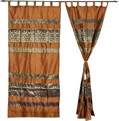 Lal Haveli Silk Multicolor Animal Tab Top Door Curtain(215 cm in Height, Pack of 2) at flipkart