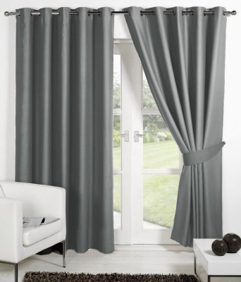 Panipat Textile Hub 152.4 cm (5 ft) Polyester Window Curtain (Pack Of 2)(Plain, Gray) at flipkart