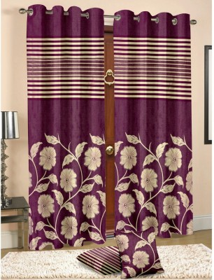 Cortina Jacquard Multicolor Floral Eyelet Door Curtain(210 cm in Height, (6.8 ft), Single Curtain) at flipkart