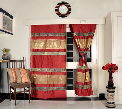 Lal Haveli Silk Home Décor Animal Design Living Room Designer Animal Tab Top Door Curtain(215 cm in Height, Pack of 2) at flipkart