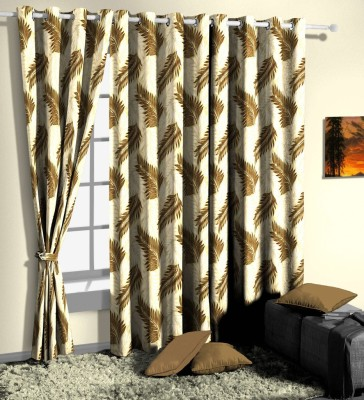 Curtainman 213.36 cm (7 ft) Polyester Door Curtain (Pack Of 2)(Floral, Brown) at flipkart