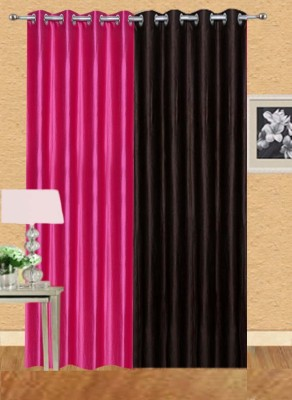 Stella Creations Polyester Brown, Pink Solid Eyelet Door Curtain(214 cm in Height, (6.9 ft), Pack of 2) at flipkart
