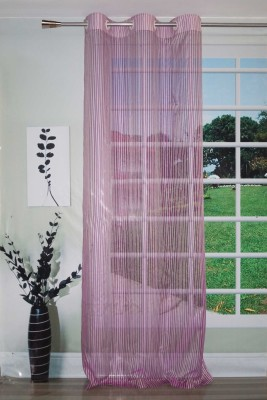 Lushomes Polyester Purple Striped Eyelet Door Curtain(228 cm in Height, (7.3 ft), Single Curtain) at flipkart