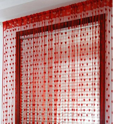 Gift Palace 205 cm (6 ft) Net Door Curtain Single Curtain(Embroidered, Red)