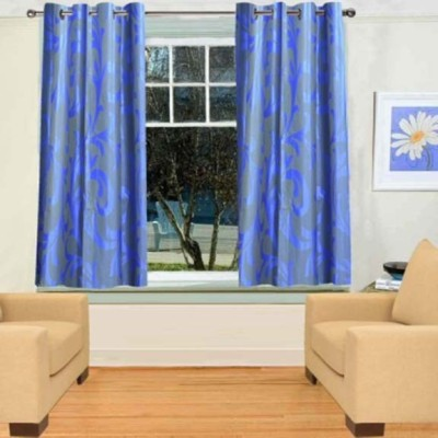 New Ladies Zone 120 cm  4 ft  Polyester Window Curtain  Pack Of 2  Floral, Blue
