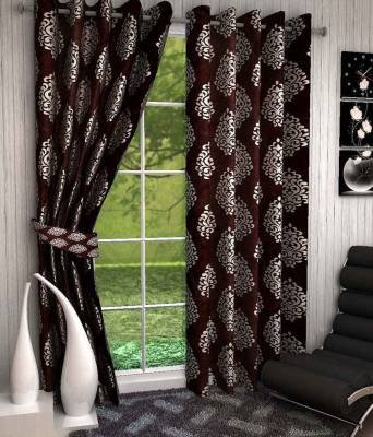 Zesture Polyester Brown Damask Eyelet Door Curtain