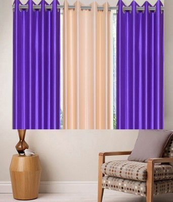 Zesture Polyester Purple, Beige Solid Eyelet Window Curtain(147 cm in Height, (4.8 ft), Pack of 3) at flipkart